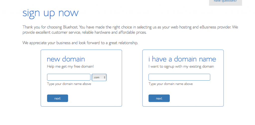account bluehost sign up screenshot