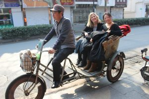 Riding a rickshaw just outside of Shanghai China
