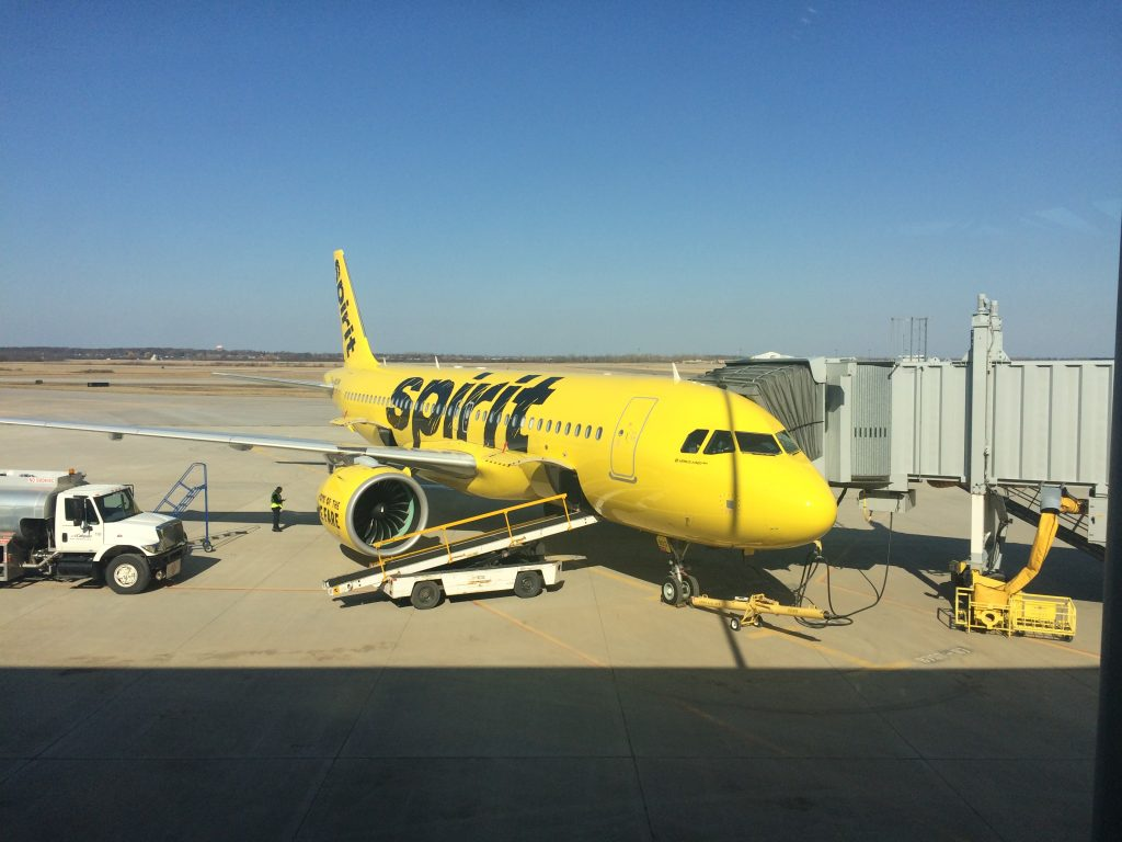 Spirit Airlines plane Niagara Falls Airport