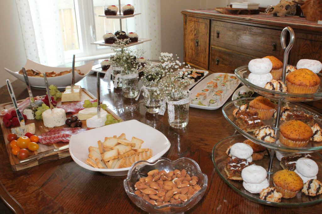 Serve a variety of finger foods so that guests of the bridal shower can snack and chat throughout the afternoon.